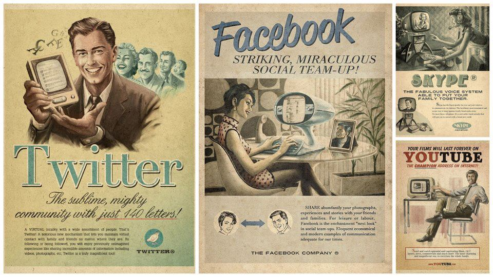 ~ Antiquated style advertisements for new media products.